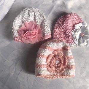 Other - New born baby girl hats 0-6 months